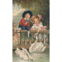 Kids Feeding Swans